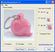 screen shot of the freeware Easy Picture2icon icon maker tool